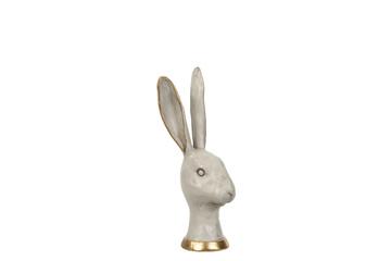 Hare, Grå og gull. 12x27 cm.