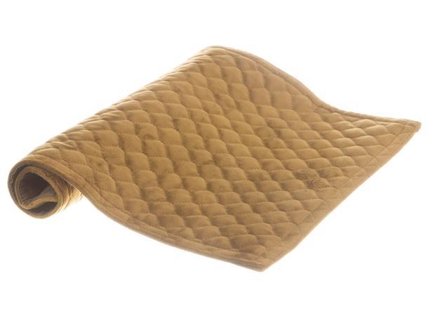 Brikke i velur, bikube, Sennepsgul 33x45cm