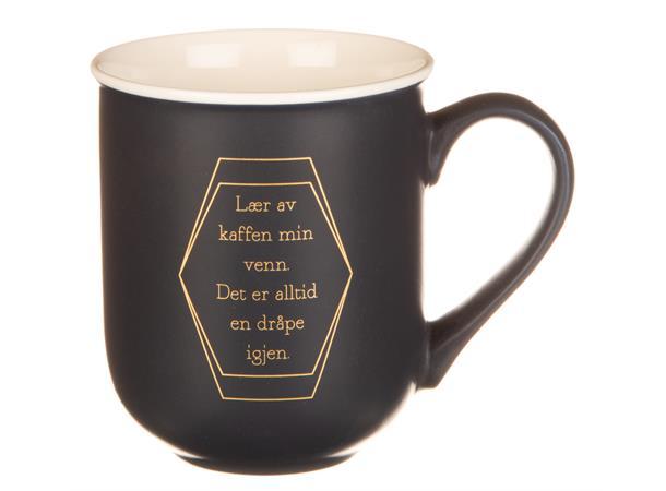 Krus m/gull blå lær av kaffen