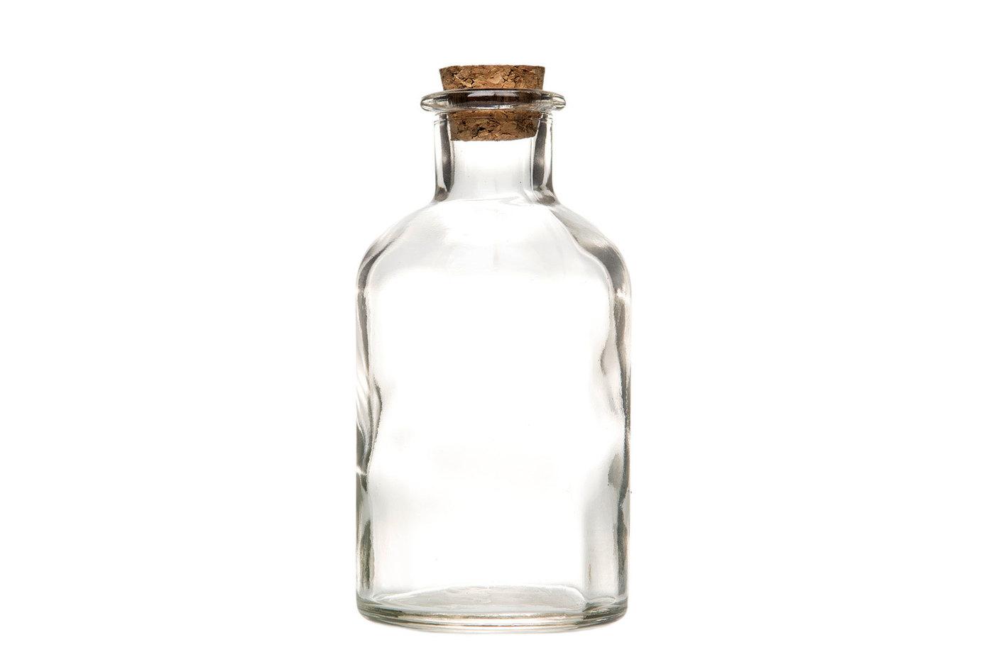 Flaske, glass med kork topp. 7,2x120cm