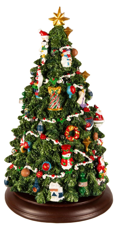 Juletre, grønt med dekor. Lys og musikk 34cm. Rote