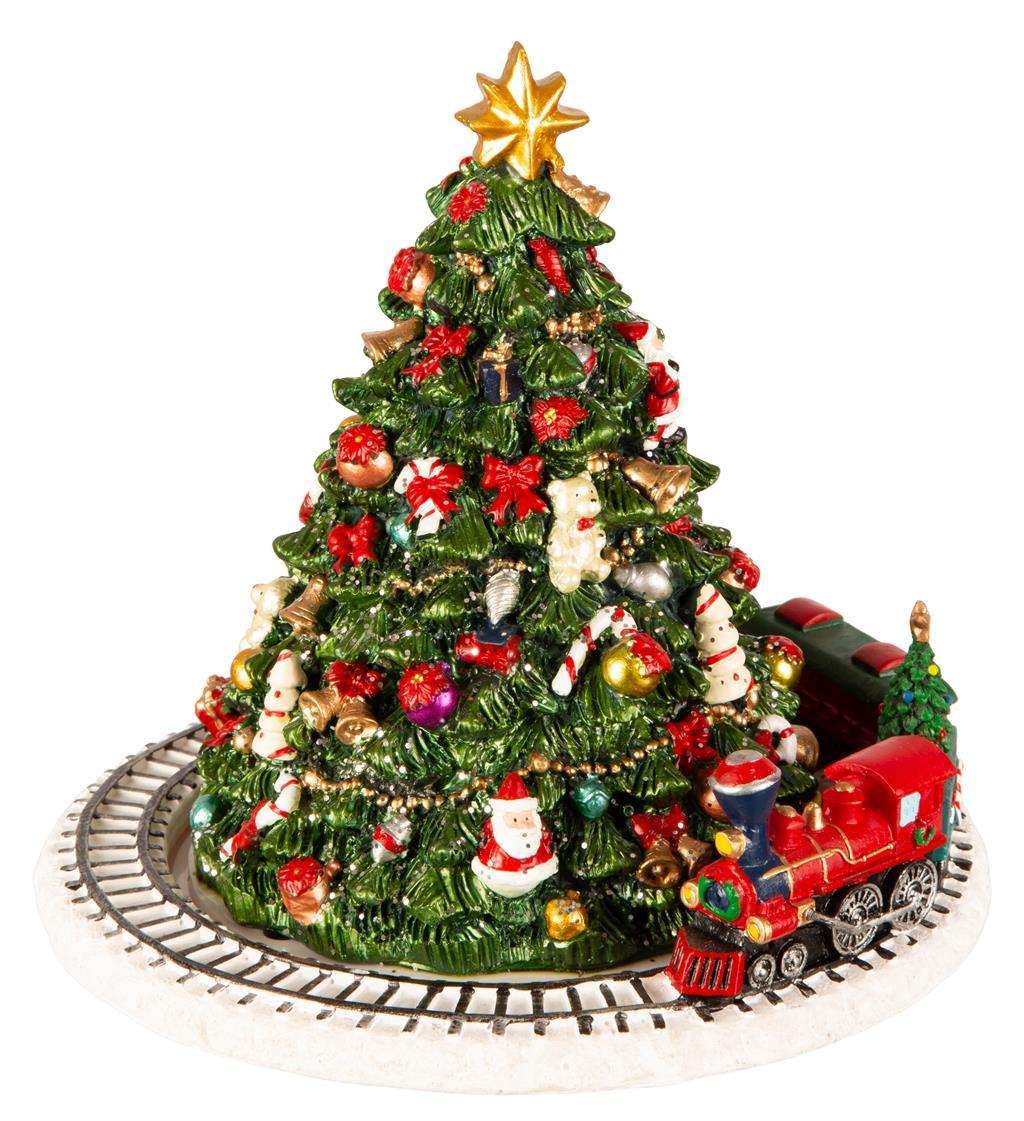Juletre, roterende . Tog/musikk 16x16 cm