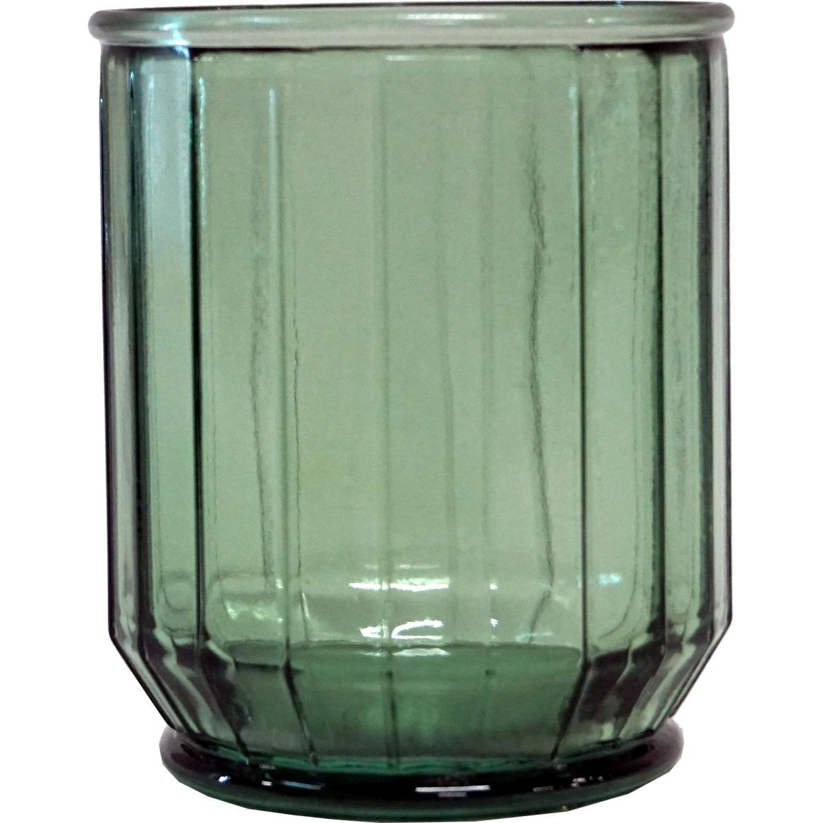 Vase i grønt glass 10x8x8cm