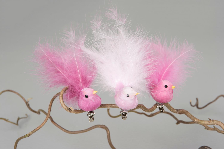 Fugl med fjær 9 cm - klips Rosa