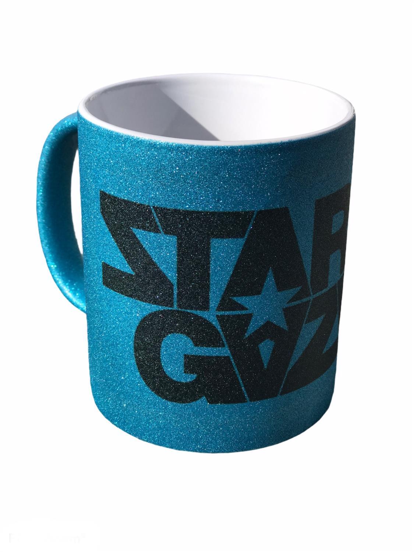 Stargazer,Glitter mug. LOGO- LTD BLÅ, 300ml