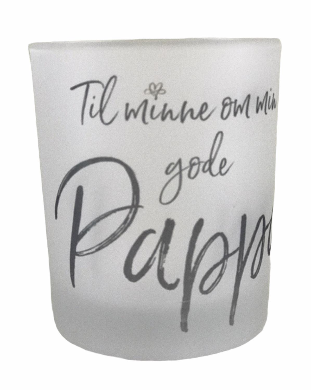 Lyskopp Til minne om min gode Pappa, frostet glass