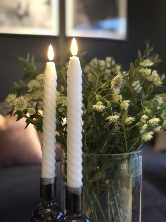 LED-lys Kronelys twist 2stk hvit