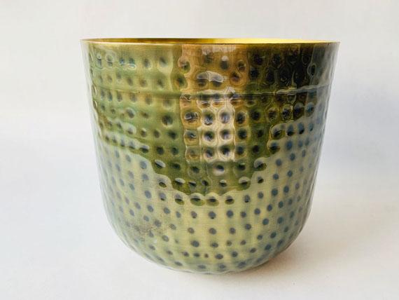 Krukke i banket metall 19x22cm Grønn/gull