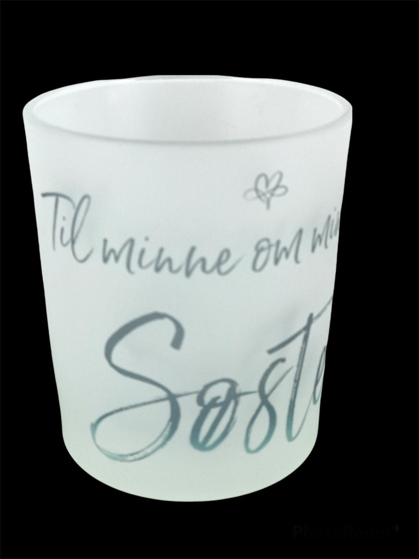 Lyskopp Til minne om min gode søster, frostet glas