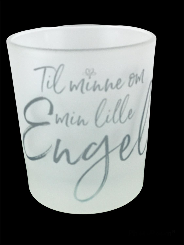 Lyskopp til minne om min lille engel, frostet glas