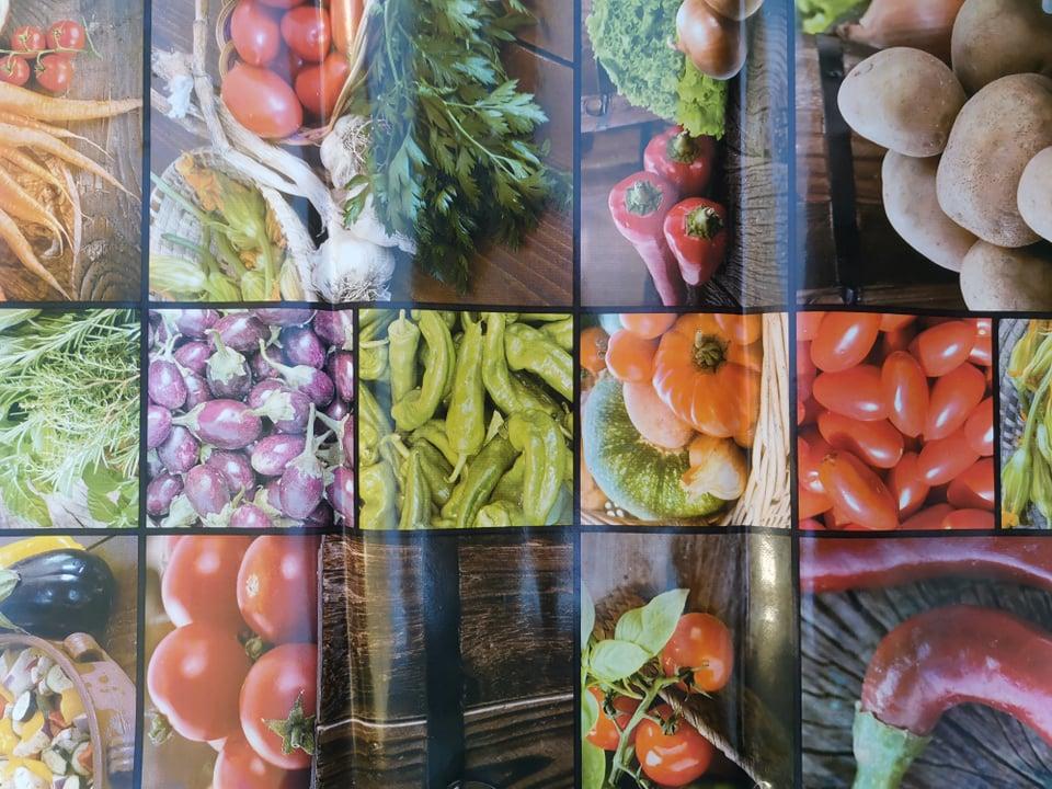Voksduk metervare krydder/grønnsaker