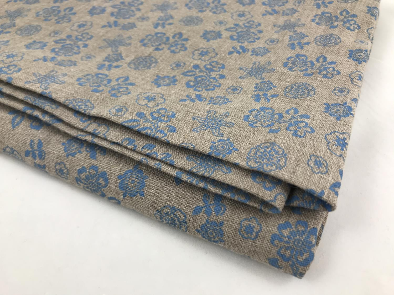 LINDUK beige blått mønster 140x200cm